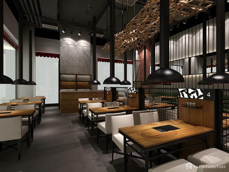 天津友滋味烧烤餐厅家具定制,烧烤店桌椅工程案例