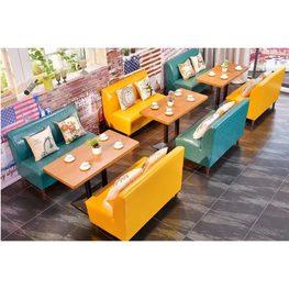 三位沙发高档西餐厅沙发_XCT1